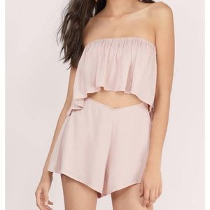 Strapless romper with cut-out